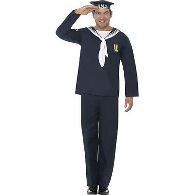 Mens Ww2 Naval Seaman  Costume 1940's Fancy Dress Outfit Military War • 21.41£
