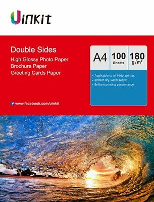 £11.99 • Buy A4  Double Sides High Glossy Inkjet Paper Photo Paper 180Gsm - 100 Sheets Uinkit
