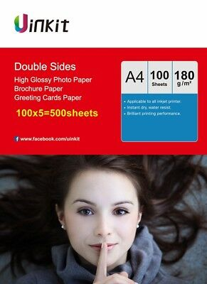 £50.99 • Buy A4 Double Sides 180Gsm High Glossy Inkjet Print Photo Paper - 500Sheets Uinkit