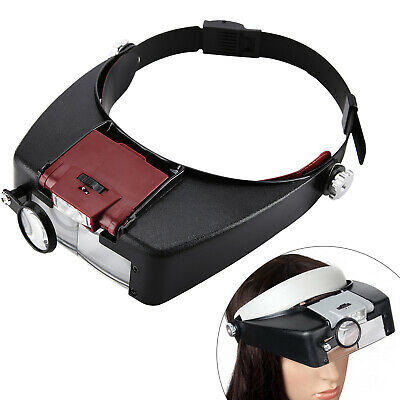 £9.49 • Buy 10X Magnifying Glass Headset LED Light Head Headband Magnifier Loupe With Box