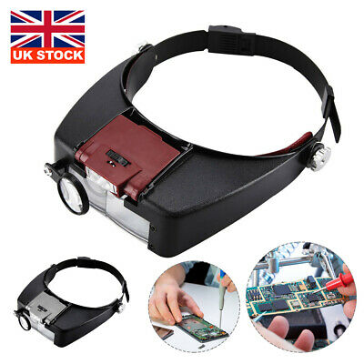 Magnifying Glass Headset LED Light Head Headband 10X Magnifier Loupe With Box UK • 6.59£