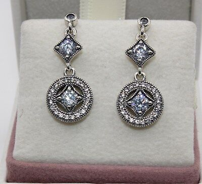 AUTHENTIC PANDORA Vintage Allure Drop Earrings 290722CZ #1455 • 29.82£
