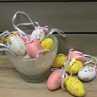 Pack Of 12 Small Hanging Egg Decorations Easter Gisela Graham Flower Tree Pink  • 7.99£