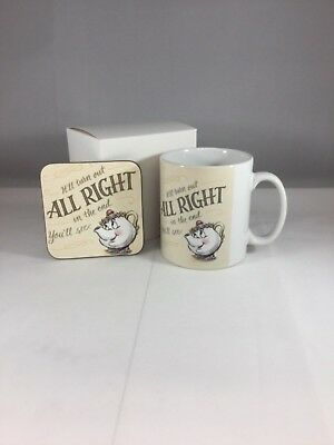 Mrs Potts It'll Turn Out All Right Mug & Coaster  - Beauty & The Beast Inspired • 9.99£