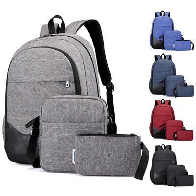 $17.98 • Buy 3PCS Men Women Boys Girls Backpack School Shoulder Bag Bookbags Canvas Travel