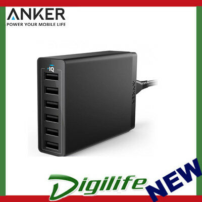 AU63 • Buy Anker PowerPort 60W 6 Port USB Desktop Wall Charger Black A2123T11