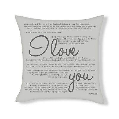 I Love You Westlife Song Lyrics Cushion Cover Gift (UFCU033) • 12.99£