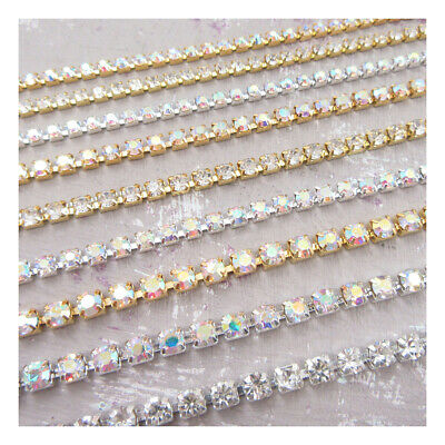 AB Silver Gold Crystal Stitch On Diamante Rhinestone Rope Chain SS8 SS12 SS16  • 3.09£