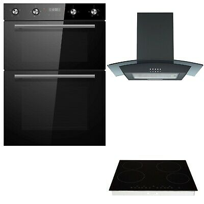 Cookology Black Built-in Double Oven, Ceramic Hob & Curved Glass Hood Pack • 654.99£