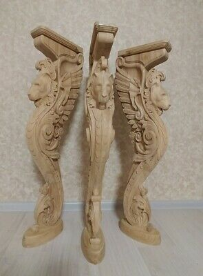 $500 • Buy 38  Wooden Stairs Baluster Newel, Oak Carved  Gryphon Statue, Decorative Element