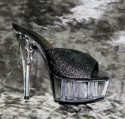 Clear Platform And Heel Lap Dancing Shoes With Black Glitter Uppers Size 4 • 15£