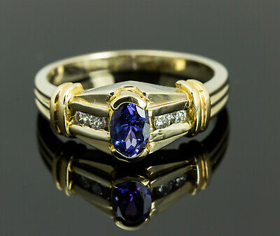 £199.19 • Buy 14K Two Toned Gold Tanzanite And Diamond Ring