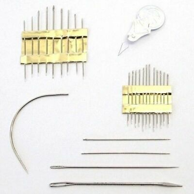 Household Repair Hand Sewing Needle Set Threader Curved Upholstery Darning • 1.99£