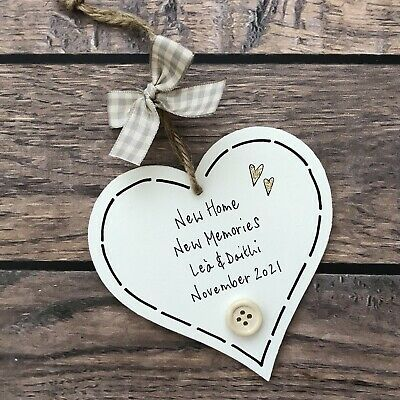 £6.99 • Buy New Home Gift Present First Housewarming Sign Heart Moving Memories Personalised