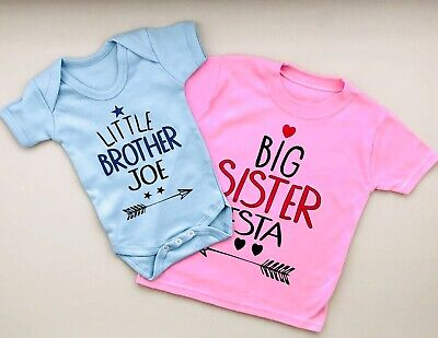 £16 • Buy PERSONALISED Baby Clothing LITTLE SISTER/LITTLE BROTHER & BIG SISTER/BIG BROTHER