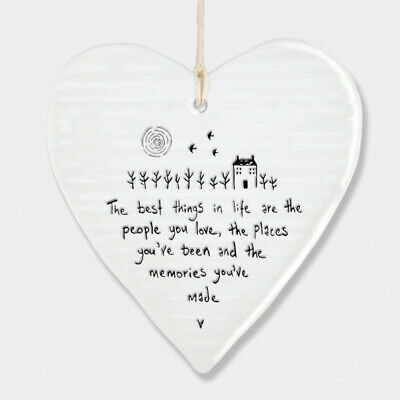 East Of India Wobbly White Porcelain Heart Best Friends Make Good Times 10x9cm • 6.49£
