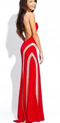 1502f53f6a4  575 Red Jovani Prom pageant formal Dress gown  90690 Size 8 •