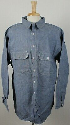 75c70463923 Vintage Washington Dee Cee Sanforized Denim Chambray Work Shirt Blue Mens  17 XL • 49.99