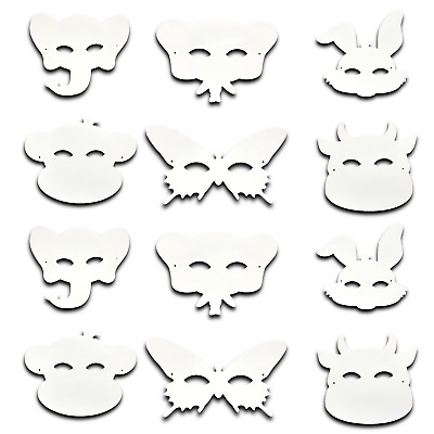 12 Pack Make Your Own Mask Kit Arts Crafts Kids Animals Butterfly Children Set • 2.49£