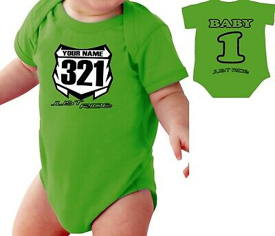 £14.92 • Buy Motocross Baby Number Plate One Piece Shirt Infant Mx Just Ride Kawasaki Kx Lime