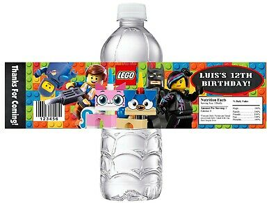 $8.90 • Buy 10 LEGO MOVIE 2 Personalized BIRTHDAY PARTY FAVORS WATER BOTTLE LABELS WRAPPERS