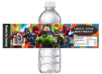 $7.91 • Buy LEGO SUPERHEROES Super Heroes BIRTHDAY PARTY FAVORS WATER BOTTLE LABELS WRAPPERS