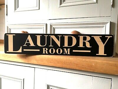 Laundry Sign Plaque Vintage Shabby Wooden Old Style Kitchen Bathroom Victorian • 14.95£