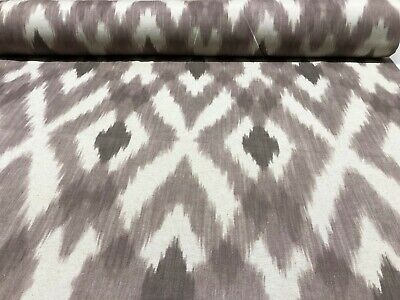 Designed Ikat Linen Fabric In Grey - Double Width 280cm Wide Curtains Upholstery • 19.95£