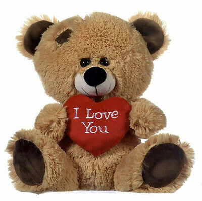 Brown Patchwork Teddy Bear Holding Red Heart With  I Love You  Written On It • 10.99£