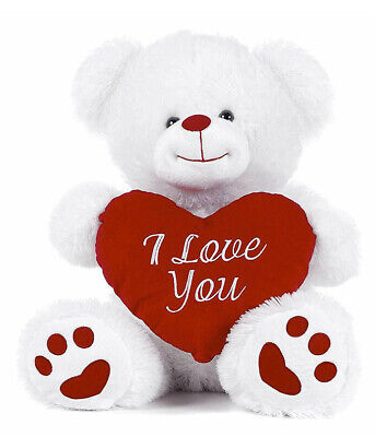 Large/Small White Teddy Bear Holding Red Heart With I Love You Written Kids Gift • 8.99£