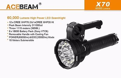 AU769.95 • Buy ACEBeam X70 60000lm 1.1km 12x Cree XHP70.2+XHP35 HI Rechargeable Torch