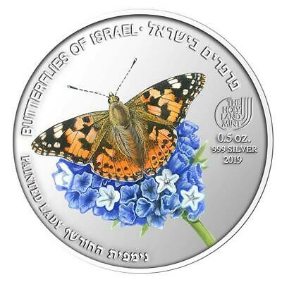 Israel 2019 Coins & Medals Painted Lady Butterfly Color Silver • 77$