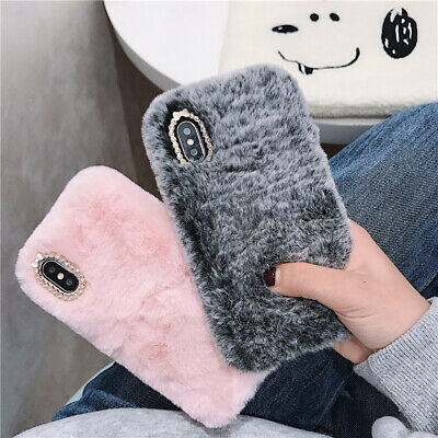 Soft Warm Plush Fluffy Phone Case Cover Comfy Faux Fur For IPhone XR 6s 7 8 Plus • 6.99£