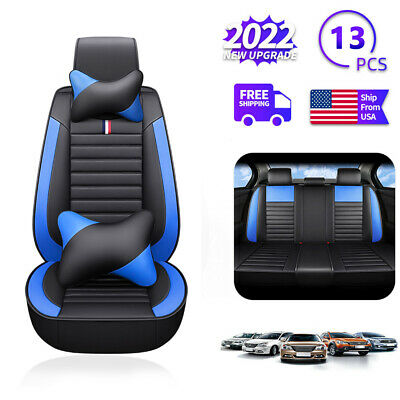 $84.54 • Buy 5D Car Seat Covers PU Leather Front Rear Set Universal Car Accessories Interior