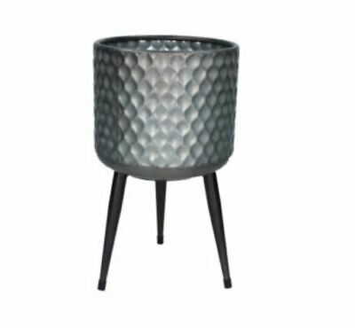 Small Hammered Galvanised Metal Plant Pot Cover Legs Stand Tripod Gisela Graham • 30£