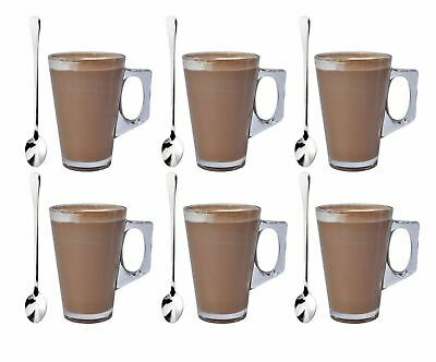 Pack Of 6 Latte Glass & 6 Tea Spoons Coffee Cappuccino Drinking Cup 240ml  • 7.75£