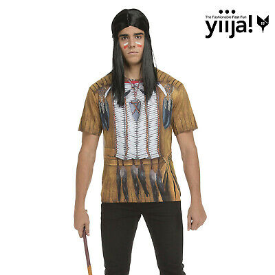 £6.49 • Buy MENS Native American Red INDIAN 3D PRINT T- Shirt SIZE SMALL Fancy Dress COSTUME