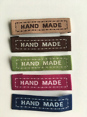 10x Woven  Hand Made  Garment Labels.  Sewing, Craft, Clothing, Knitting, Bags • 2.50£