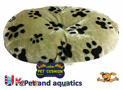 Lazy Bones Paw Print Fur Oval Cushion Ideal For Plastic Dog Beds • 13.99£