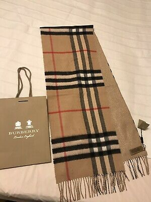 £320 • Buy BNWT GENUINE Burberry Camel Check Reversible Gold Scarf 100% Cashmere