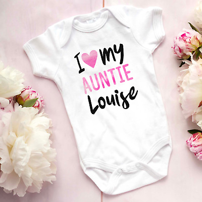 I Love My Auntie Personalised Name Baby Vest Bodysuit Grow Shower Gift • 6.99£