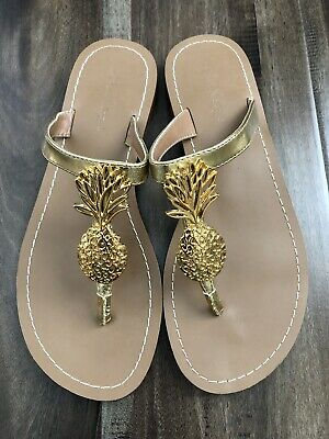 c18cd870c076 Lilly Pulitzer Gold Pineapple Thong Sandals Flip Flops Sz 8 Womens • 22.99