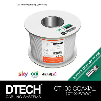 £35.99 • Buy DTECH CT100/TX100/WF100 Coaxial Cable CAI Approved, 100m WHITE