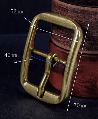 Solid Brass Classic Pin Belt Buckle For Leather Belt Replacement Fit 40mm Strap • 4.74£
