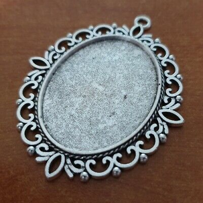 OVAL ANTIQUE SILVER CAMEO CABOCHON PENDANT SETTING TRAY 40x30mm +/- GLASS C37 • 1.99£