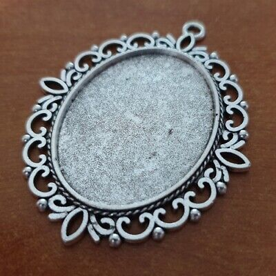 OVAL ANTIQUE SILVER CAMEO CABOCHON PENDANT SETTING TRAY 40x30mm +/- GLASS C37 • 2.29£