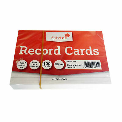 £2.99 • Buy Silvine Record Index Cards Ruled 152x101mm (6 X4 ) Pack Of 100 White
