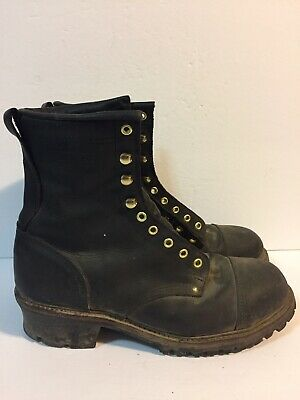 75fff71122e Emerson Of Maine Leather Logger Boots Rust Size 11 EE Black Work • 75.00