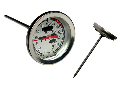 Stainless Steel Food/Meat Thermometer - BBQ Dial Gauge Probe Temperature Measure • 99£