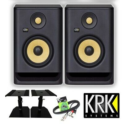 KRK Rokit RP5 G4 Active 5  DJ Studio Monitor Speakers (Pair) With Stands & Cable • 329£